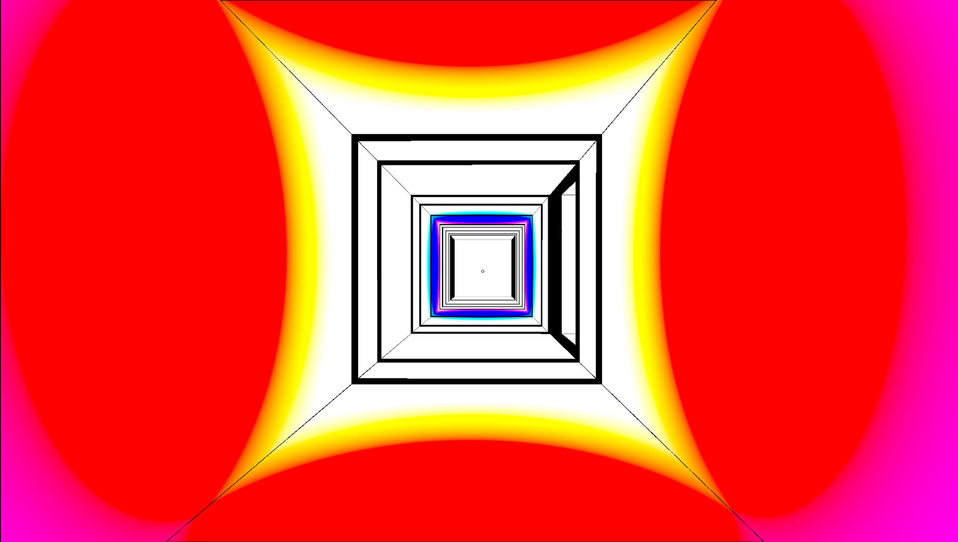 A square hallway with alternating pink, red, yellow, white, black, and blue layers